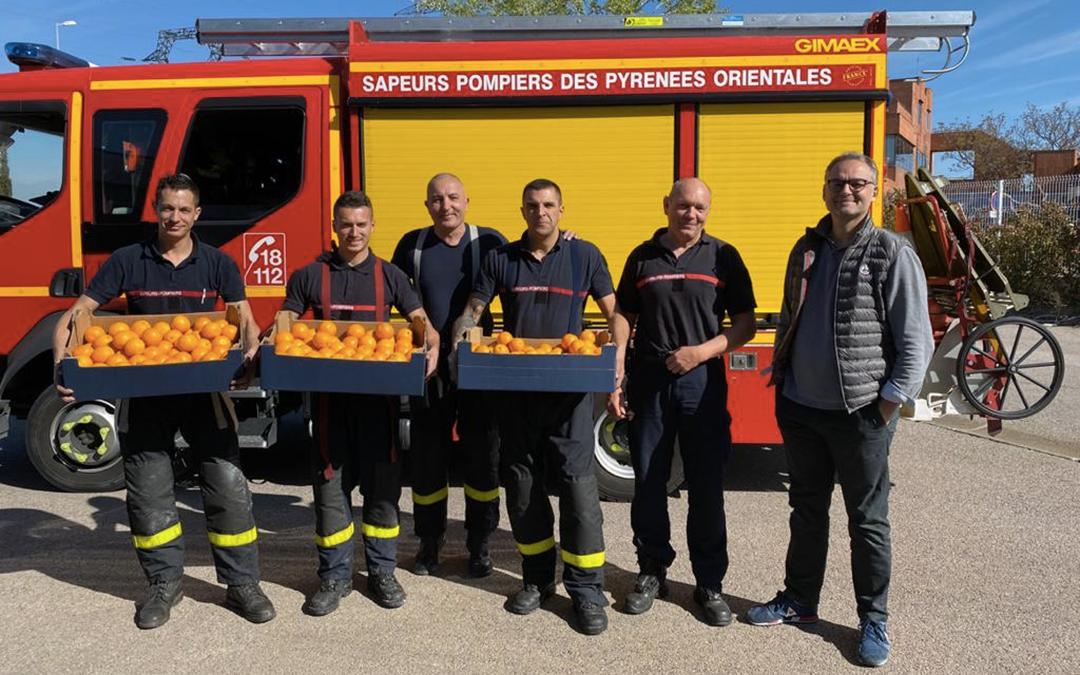 Don de fruits aux sapeurs pompiers de Perpignan